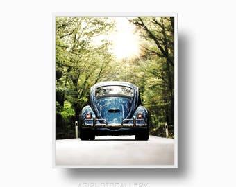"""VW Beetle Print, VW Retro Car Print, Volkswagen on the road, vw Bug Car, vw """"Herbie"""" Beetle, Volkswagen Beetle Bug, Forest Road"""