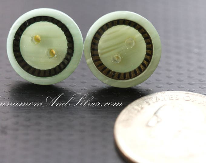 Classic Greek Style Mint and Bronze Upcycled Button Earrings, Upcycled Vintage Button Earrings, Upcycled Neo-Classical Button Post Earrings