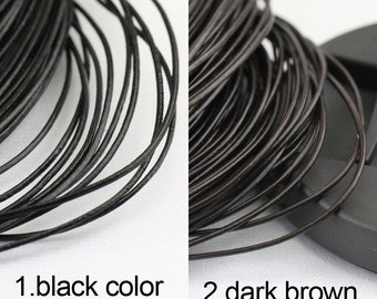 1mm leather cord,genuine leather string cord,18gauge round leather cord,dark brown color,black leather cord,1yard,2yard,5yard,10yard,50yards