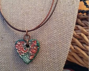 Heart Pendant Handmade out of clay, Earth Tone Colors, Bible Verse reference 1 Samuel 12:24 on the back