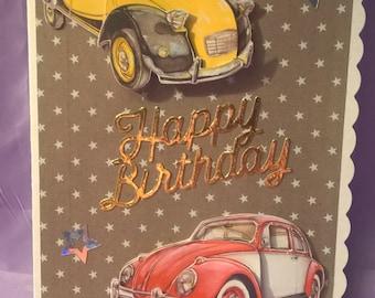 Classic Cars Happy Birthday Card
