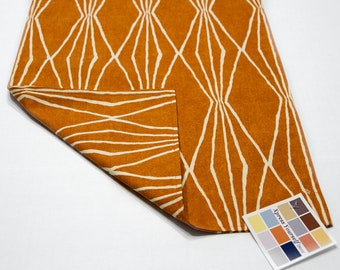 Orange Table Runner,  Reversible or Unlined Table Runner with Geometric Design in Natural and Orange Crush,