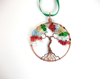 Family Tree Suncatcher, custom birthstone window hanging, gift for mother, housewarming, wedding, christening, anniversary