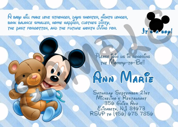 Mickey Mouse Baby Shower Invitation Printable