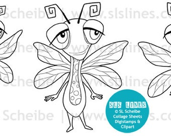 Dragonfly digital stamp, cute dragon flies digistamp nature lineart by SLS Lines, coloring page