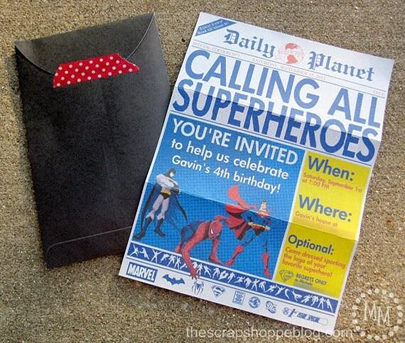 Superhero newspaper custom printable birthday invitation filmwisefo Images