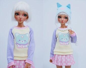 Slim MSD Minifee or SD BJD Sweater - Kawaii Meow