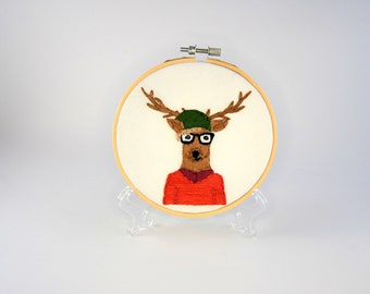 Hipster Deer Hoop Art - Hand Embroidered Deer Wall Hanging - Deer with glasses slouchy hat and sweater - Darla Deerston