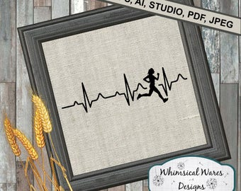 Heartbeat runner svg, running svg, heartbeat svg, digital download, .studio3 file, svg, eps, ai, dxf, pdf files all included