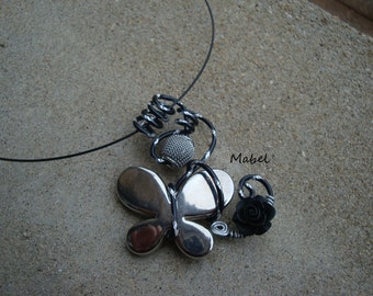 Silver butterfly, Black Aluminum diamond necklace