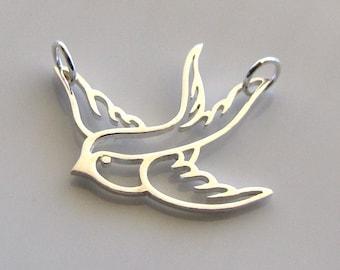 Sterling Silver Soaring Bird Charm