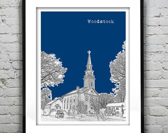 Woodstock Connecticut Poster Print Art Skyline CT Item T1114
