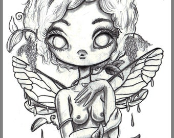 Day #139 - Tangled  - Kawaii fairy girl original sketch a day drawing! 5.5 x 8.5