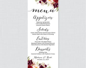 Printable or printed wedding menu cards pink floral wedding printable or printed wedding menu cards marsala floral wedding menu card rustic pink flower mightylinksfo Choice Image
