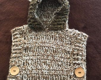 Hand Crocheted Hooded Poncho for 2-4 Year Old