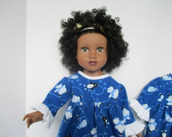 """18"""" Doll Clothes for American Girl, Maplelea and Journey Girl Dolls. Cozy Flannel Nightgown with polar bears and penguins skating."""