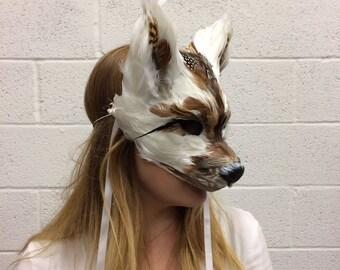 Brown & White Wolf Mask, Feather Animal Mask, Wolf Headdress, Woodland Headdress, Masquerade Mask, Cosplay Mask