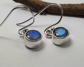 Small labradorite earrings; 92.5 sterling silver
