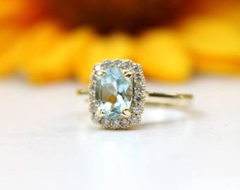 Aquamarine halo engagement ring, mil grain detailing, vintage inspired, blue proposal