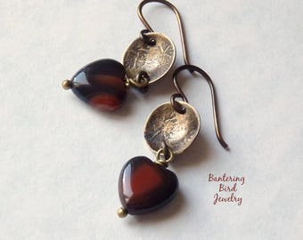 Small Agate Heart Earrings with Rustic Oxidized Golden Brass Stamped Discs, Natural Stone, Simple Jewelry