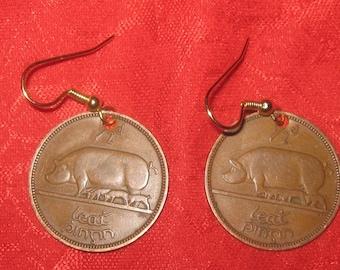 Authentic Ireland Celtic Irish Pig Harp Coin Earrings