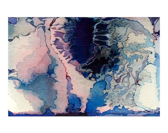 Blue pink abstract watercolor, small wall art print, Hyperborean Crater