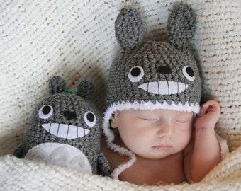 Newborn Crochet Totoro Gift Set (Newborn Totoro Hat and a Stuffed Animal)