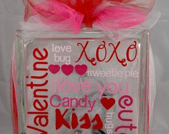 Valentines Day Glass Block - Lighted Valentines Day Glass Block - Decorative Valentines Day Lamp - Valentines Day Night Light