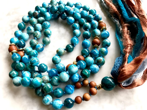 108 MALA BEADS Sandalwood Mala Apatite Mala Beads Sari Tassel Necklace Boho Mala Throat Chakra Yoga Jewelry Mantra Meditation Prayer Beads