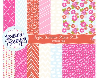 INSTANT DOWNLOAD, Aztec Summer digital papers or pink and orange backgrounds