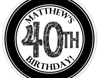 Custom 40th Birthday Labels, Black and White 40th Birthday Stickers - Personalized for you