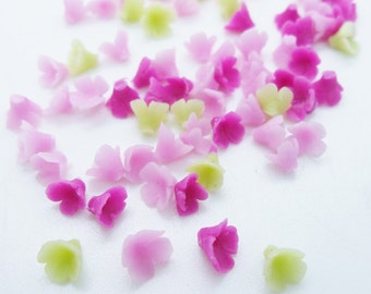 Miniature Polymer Clay Flowers Supplies for Dollhouse, set of 80 pieces, assorted