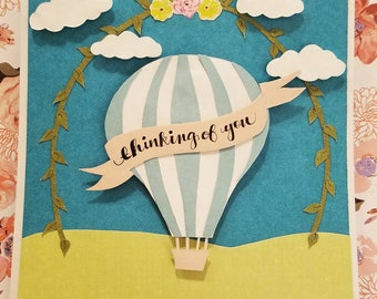 Thinking of you card with a hot air balloon
