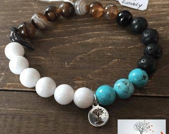 "Natural Stone Elastic Bracelet - ""Just Lovely"" (Sardonyx, White Mountain Jade, Magnesite, and Lava Rock)"