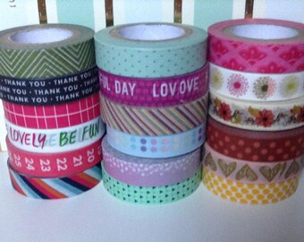 "WS-083 | 24"" Assorted Thin Washi Samples - green,magenta,text,hearts,polkadots,yellow,blue"