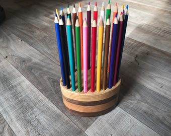 Hand Crafted wood 24 count pencil holder