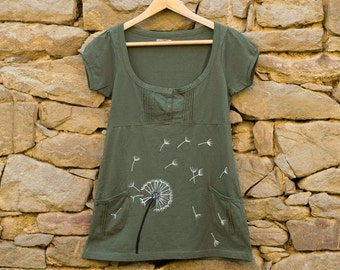 Dandelion T Shirt in Khaki Green Color, Size S Hand Painted Blouse, Army Green Apparel