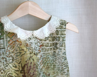 Wakanda boho fairy dress, woods outfit, lace peter pan collar, Flower Girl gown, infant clothes, OOAK elegant summer suit hand made in Italy