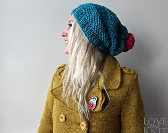 Slouchy Beanie with Pompom- Blue Slouchy Beanie- Pom pom Beanie- Loose Hat- Hand Knit Beanie- Winter Beanie- Handmade Beanie