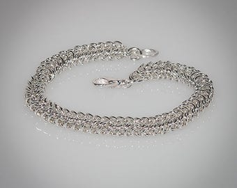 Byzantine // Chain Maille Bracelet // Argentium silver // Sterling Silver Lobster Clasp // Hand Made