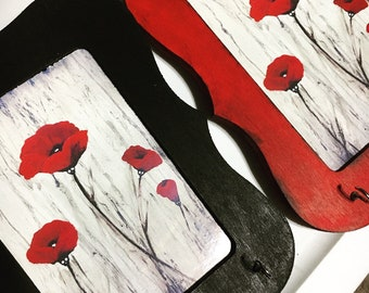 Red Poppies Flowers with Skulls 4x6 Print Card