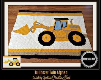 Bulldozer Afghan, Crochet Pattern, C2C Graph, Written Word Chart