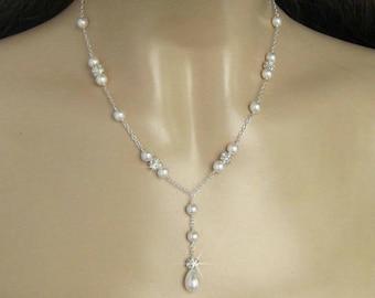 Pearl Necklace, Wedding Jewelry, Crystal Rhinestone Fireball, Crystal and Pearl Bridal Jewelry, Pearl Y Necklace Pearl Drop Necklace