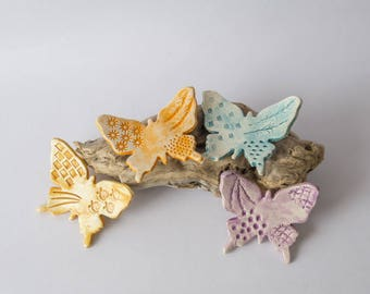 4 butterflies ceramic glue stud to decorate flower pots, orange, yellow, purple turquoise