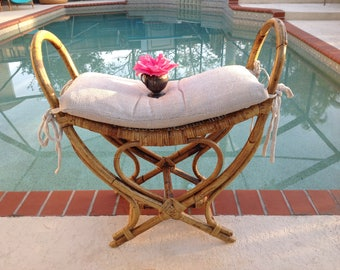 BAMBOO RATTAN BENTWOOD Bench / Bohemian Rattan Bamboo Bench /Bamboo Bentwood Bench / Bohemian Bench /Coastal Cottage Style Retro Daisy Girl
