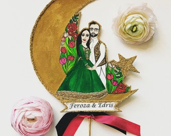 Pakistani Wedding Cake Topper - Portrait Cake Topper- Custom Illustrated - Personalized - Hand Painted
