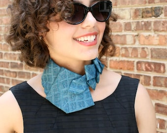 Necktie Necklace - Womens Necktie - Office Wear - Gift For Mom - Upcycled Neckties - Teal Lauren Scarf. 32