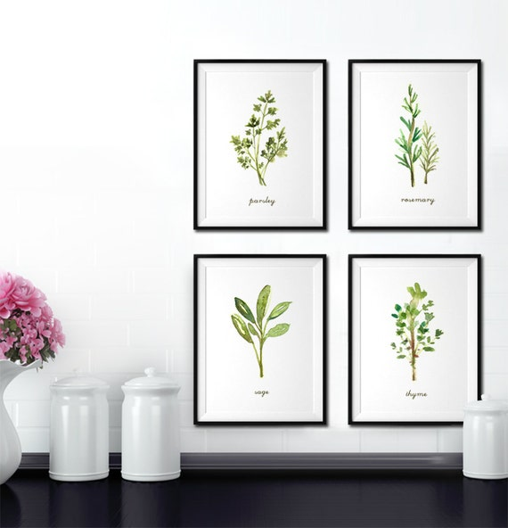 Art Prints For Kitchen Wall: Kitchen Wall Art Herb Watercolor Painting Herb Print Set Of 4