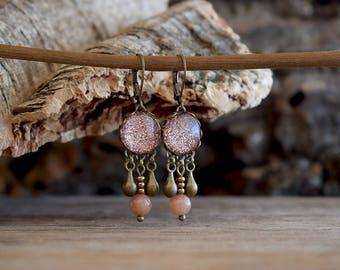 Blush pink earrings, Glitter earrings, Bridesmaid earrings, Peach pink jewelry, Pink wedding, Rose gold earrings, Glitter jewelry SJ 082