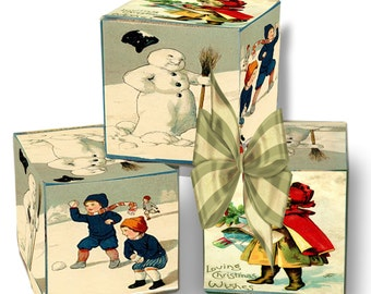 printable Christmas Victorian Snow Scene gift box DIY